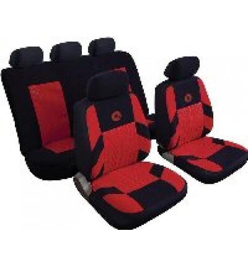 FIAT 500 08-12 FULL CAR SEAT COVER SET RED /& BLACK CLOTH